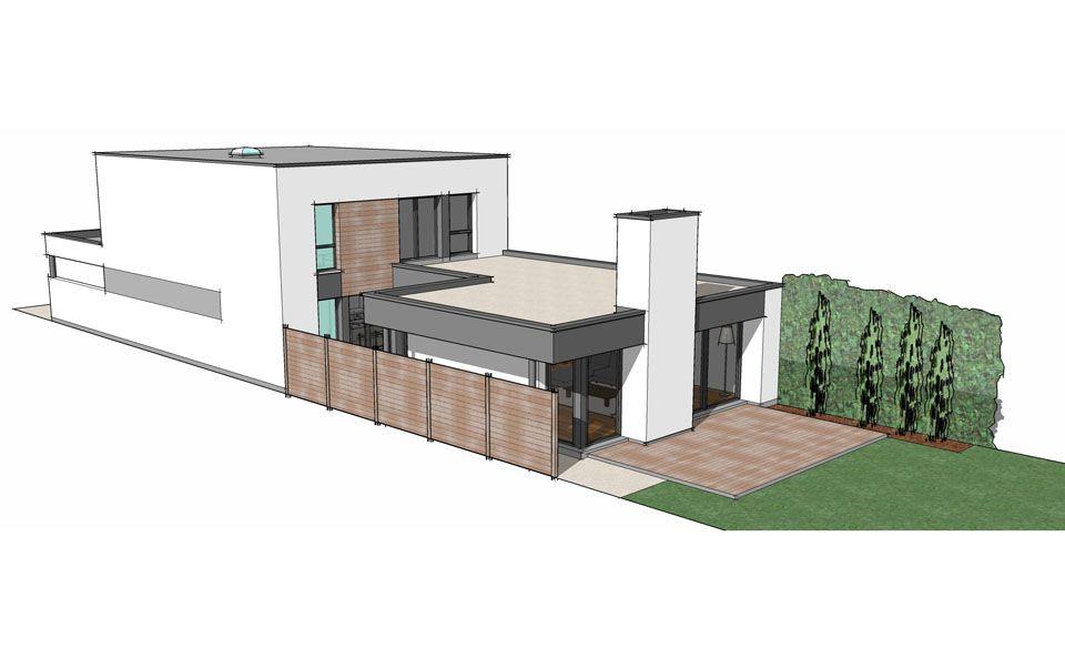 Adaptation du0027un projet du0027architecture cubique sur un terrain étroit - plan de maison sur terrain en pente