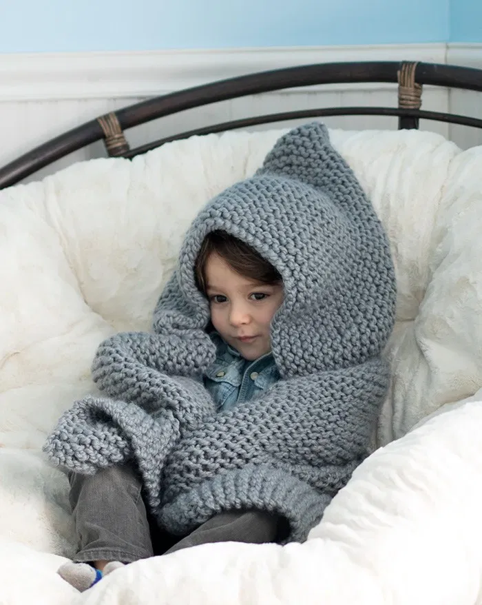 Hooded Baby Blanket Knitting Pattern - Gina Michele