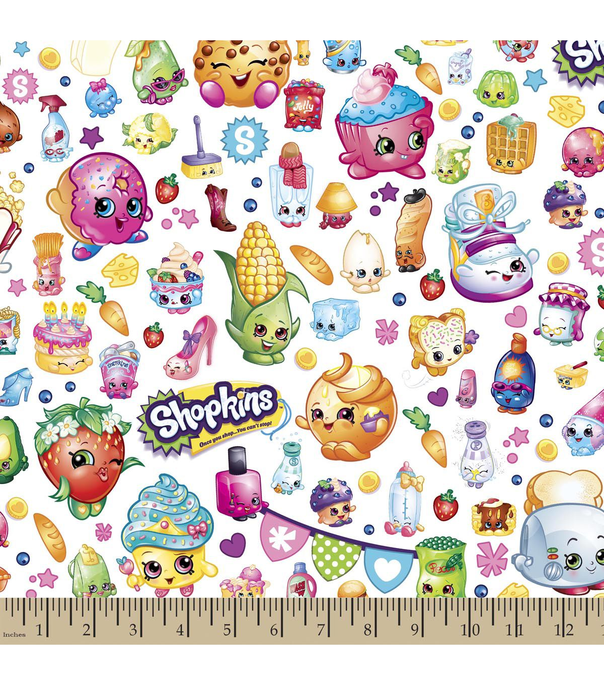 Shopkins Cotton Fabric Party Cartoon Shopkins Sewing