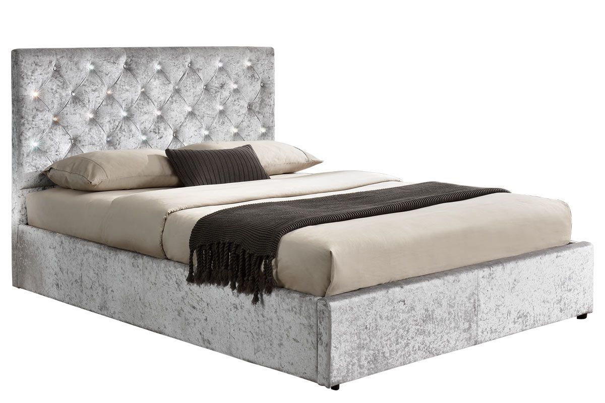 Diamante Silver Crushed Velvet Lift Up Ottoman Storage King Size Bed Frame Ottoman Storage Bed King Size Bed Frame Bed