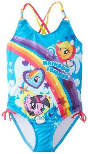 30cdb5ffe12e6 Hasbro Little Girls' My Little Pony Rainbow Friends One Piece, Blue, 6X  Hasbro