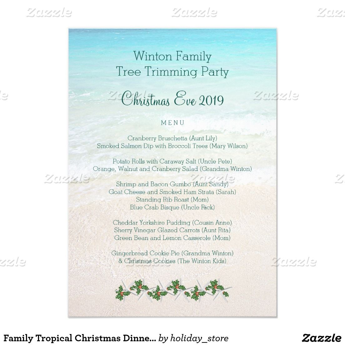 Family Tropical Christmas Dinner Menu Template Menu Template
