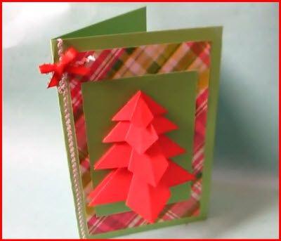 Una manera sencilla de realizar una tarjeta navideña con un arbolito