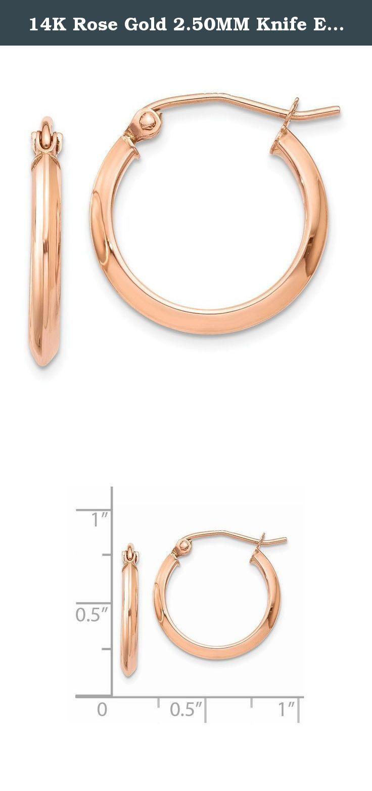 14K Rose Gold 250MM Knife Edge Round Hoop Earrings Caring For