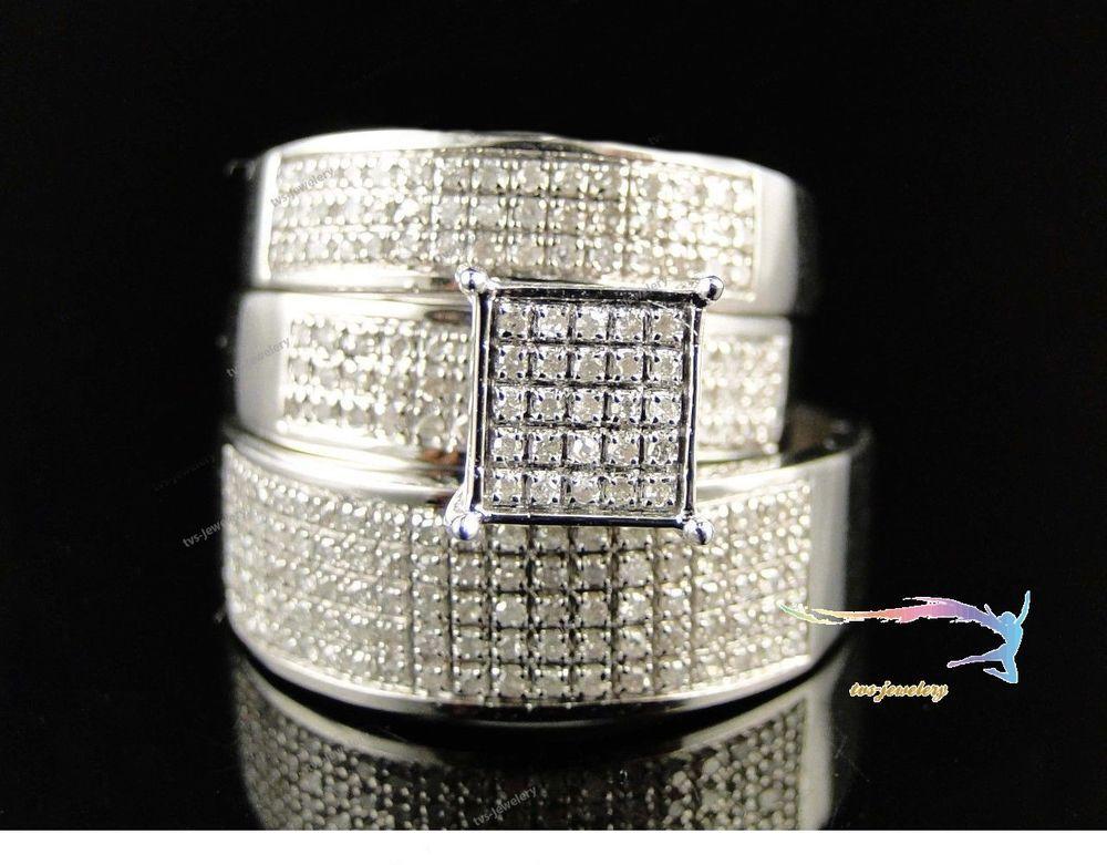 Men's & Women's Pure 925 Silver D/VVS1 Diamond Engagement/ Wedding Trio Ring Set