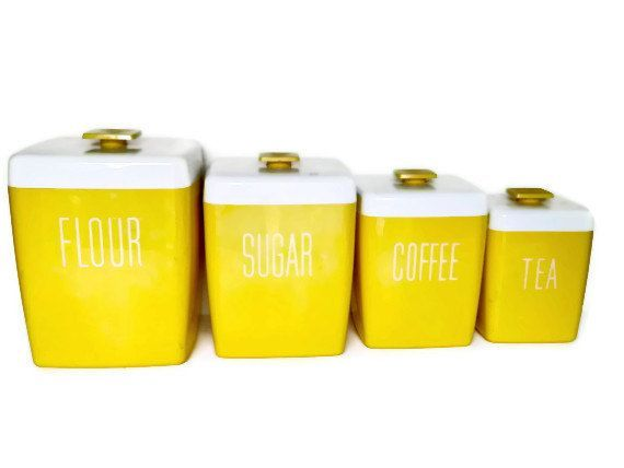 Yellow Kitchen Containers | Kitchen Canisters
