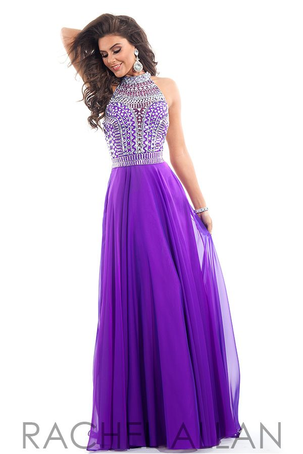 f7a3ad21eb Rachel Allan - Chiffon A-Line with heavily beaded high neck bodice  ipaprom