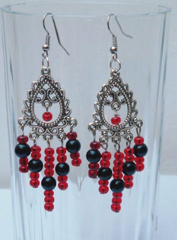 Red and black chandelier earrings/ Boho earrings/Czech by emymade, $14.00