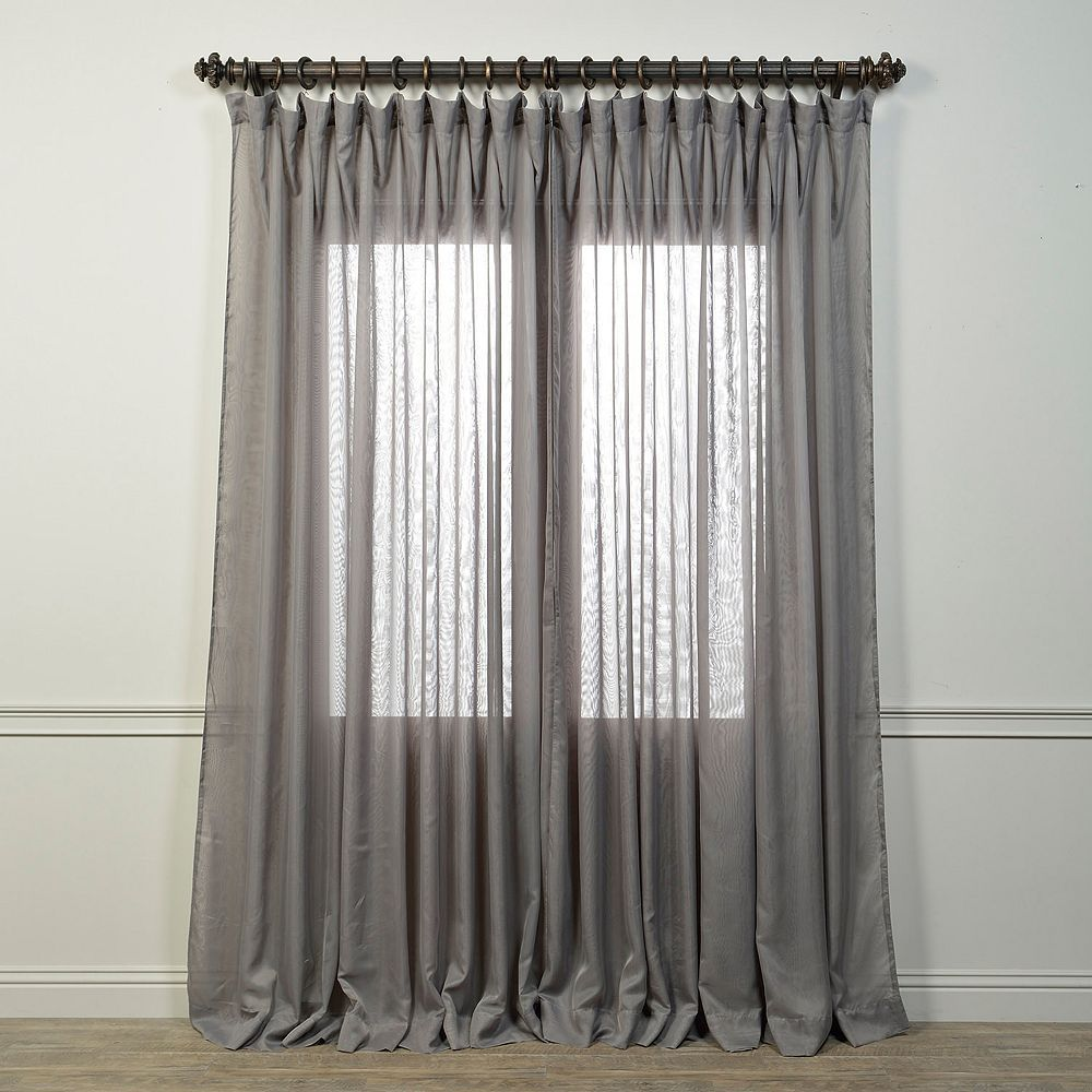 Eff Signature Sheer Double Wide Curtain Silver Gray Sheer