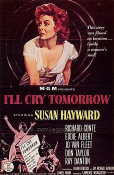 I'll Cry Tomorrow  (1955) is a biopic which tells the story of Lillian Roth, a Broadway star who rebels against the pressure of her domineering mother and reacts to the death of her fiancé by becoming an alcoholic. It stars Susan Hayward, Richard Conte, Eddie Albert, Margo, and Jo Van Fleet.The screenplay was adapted by Helen Deutsch and Jay Richard Kennedy from the 1954 autobiography by Lillian Roth, Mike Connolly and Gerold Frank. It was directed by Daniel Mann.