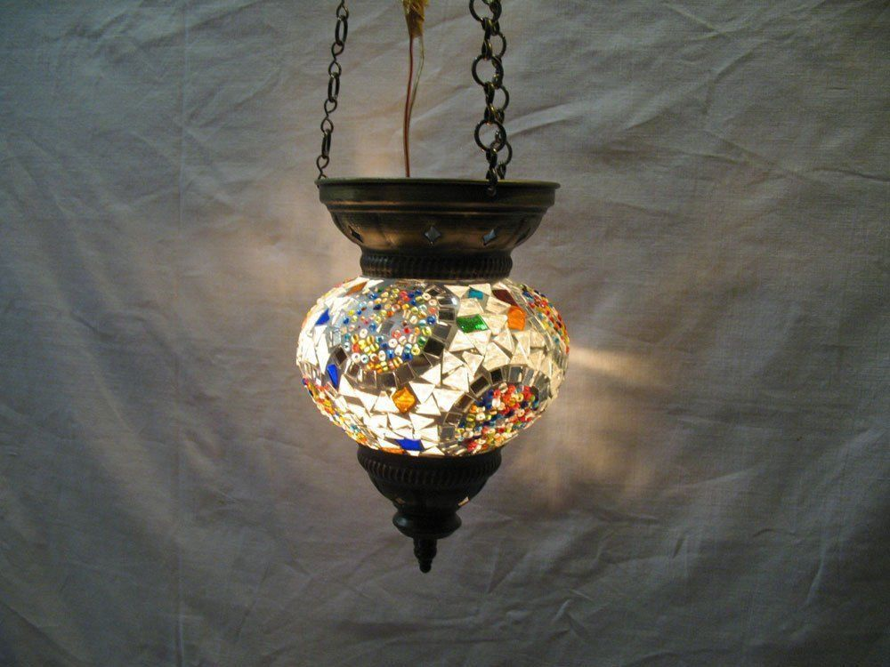 gray lamp mosaic hanging light glass candle holder moroccan lantern no : 80 #HANDMADE #Moroccan