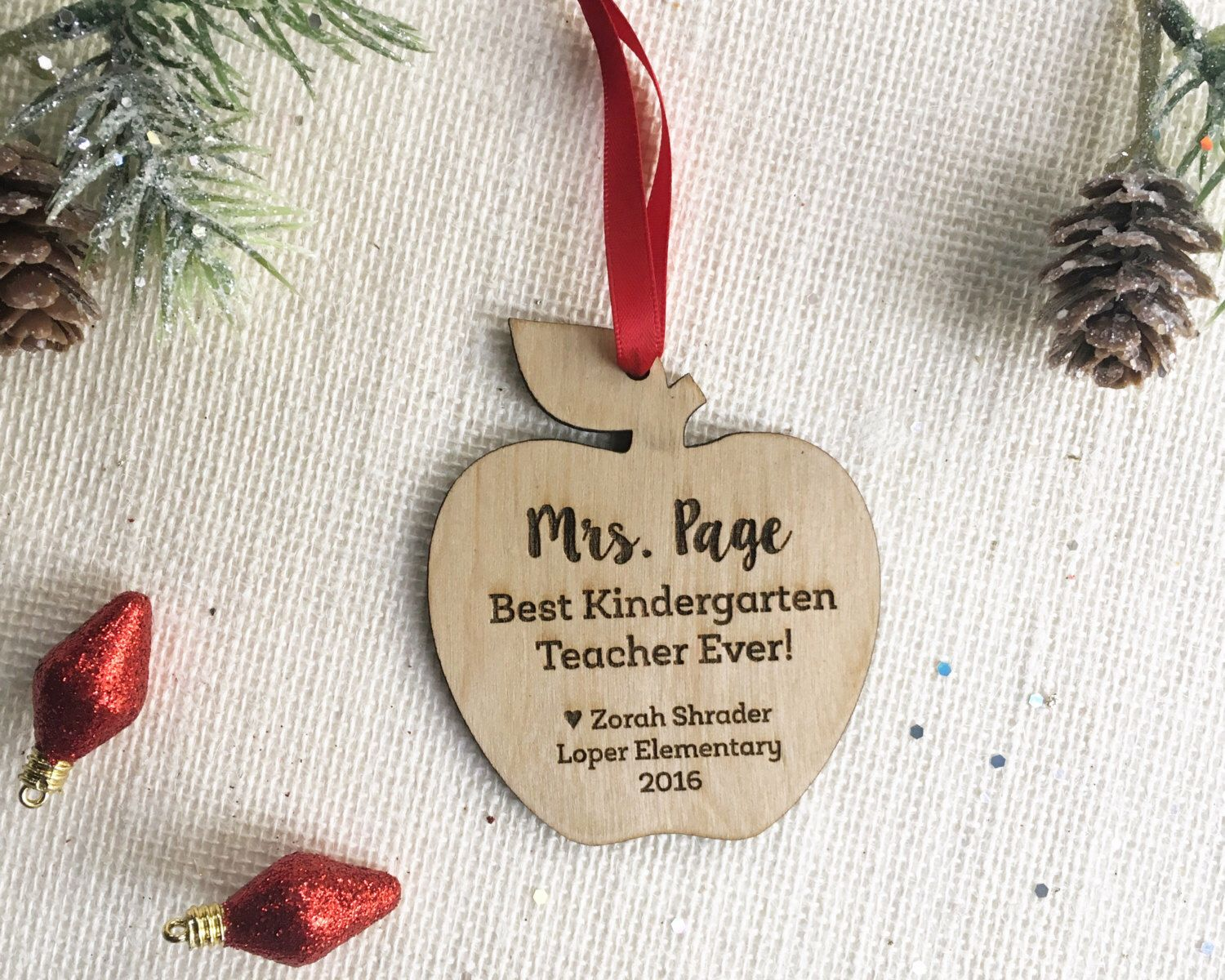 Personalized Teacher Christmas Gift - Apple Ornament for Teacher ...