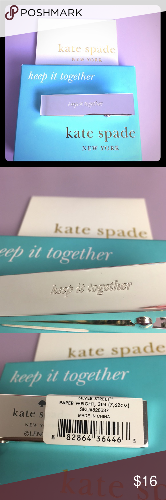 Kate Spade Silver Street Paper Weight Clip NWT Kate Spade Silver Street Paper Weight Clip- Silver Plate- NWT kate spade Accessories