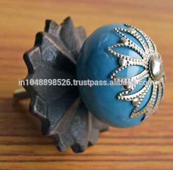 vintage blue ceramic knobs for cabinets with antique metal