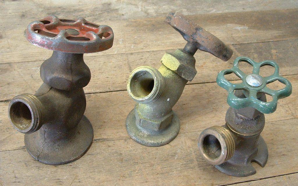 3 Old Brass Industrial Water Faucet Spigots Steampunk Garden Art ...