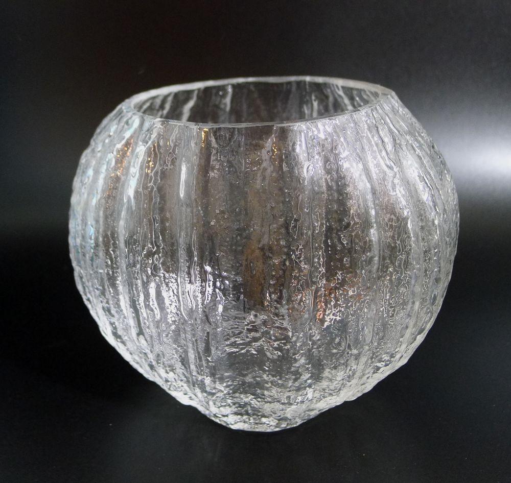 """IITTALA Finland  clear glass ice textured vase """"Minora""""  TIMO SARPANEVA"""
