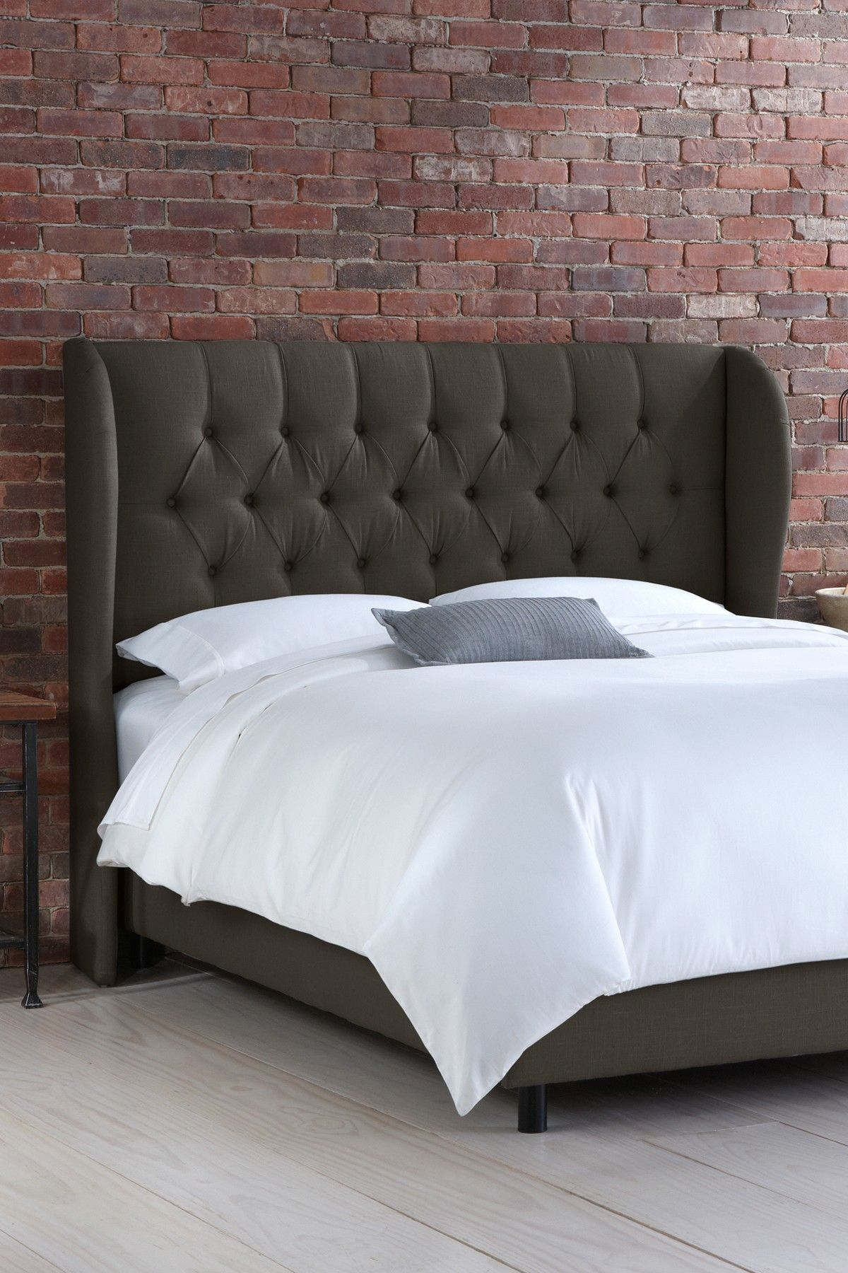 Tufted Wingback Bed - Linen Charcoal by Gold Coast | Wingback Bed ...