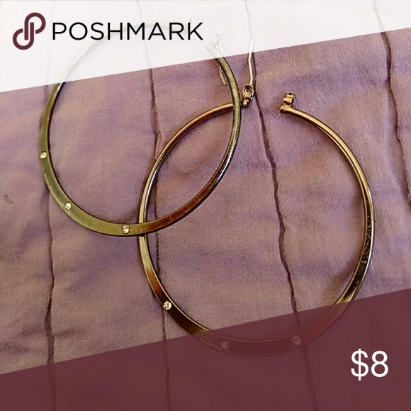Large hoop earrings Large hoop earrings with diamond looking accents Jewelry Earrings