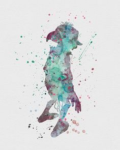Dobby 2 Harry Potter Watercolor Art Print Animaux Harry Potter