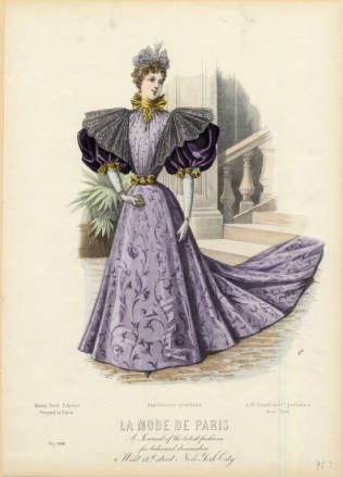 American evening gown, 1895 :: Fashion Plate Collection, 19th Century
