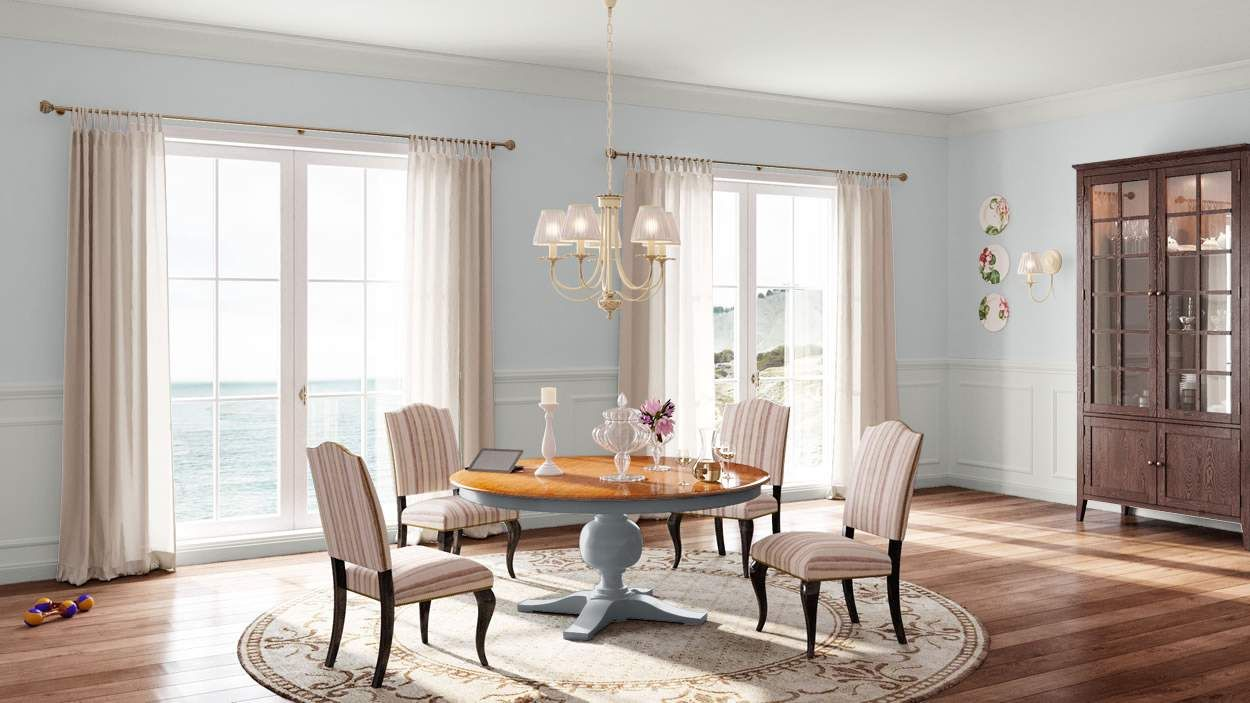 I created this English Romantic dining room using Design By What Matters by Benjamin Moore. What's your design personality? #BenjaminMoore #DBWM