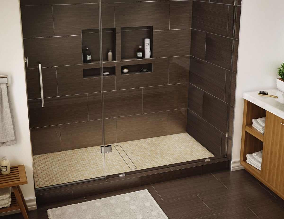 Redi Trench Single Curb Shower Pan With Center Trench Drain