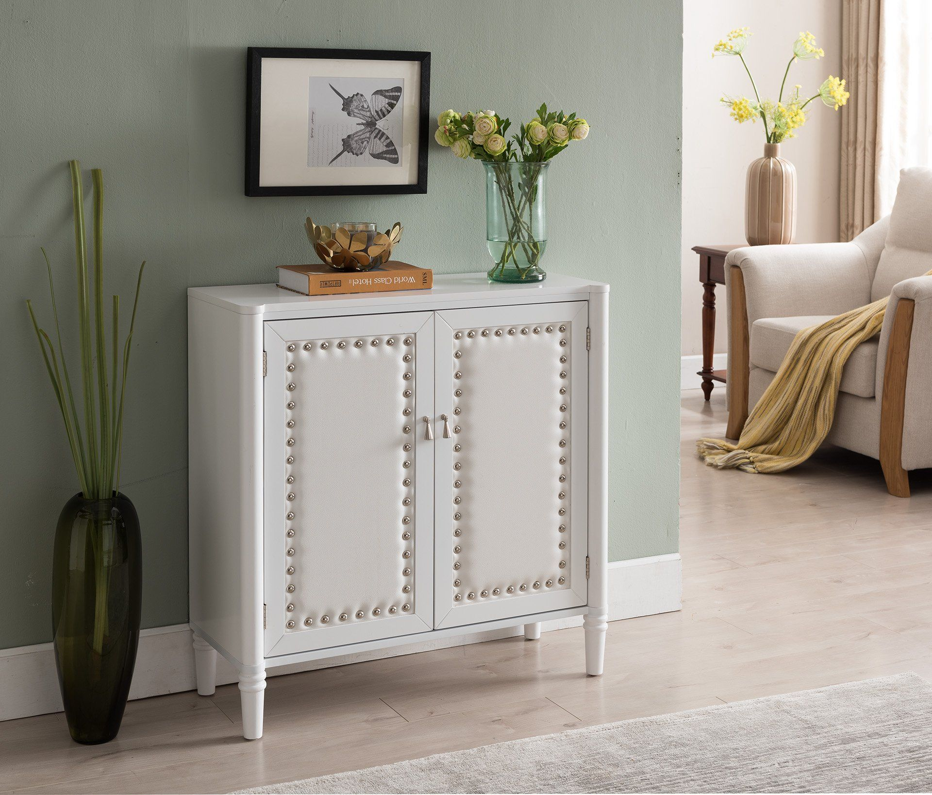 Kings Brand Furniture 2 Door Entryway Console Table Accent Cabinet White White You Can Get Additional Details A Leather Console Table Furniture Accent Doors