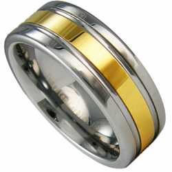 8MM Two Toned Tungsten Wedding Ring w/ 18K Gold Center. Engraving is available for this ring at #ringninja. $59.99.     http://ring-ninja.com/8mmtuand18kg.html