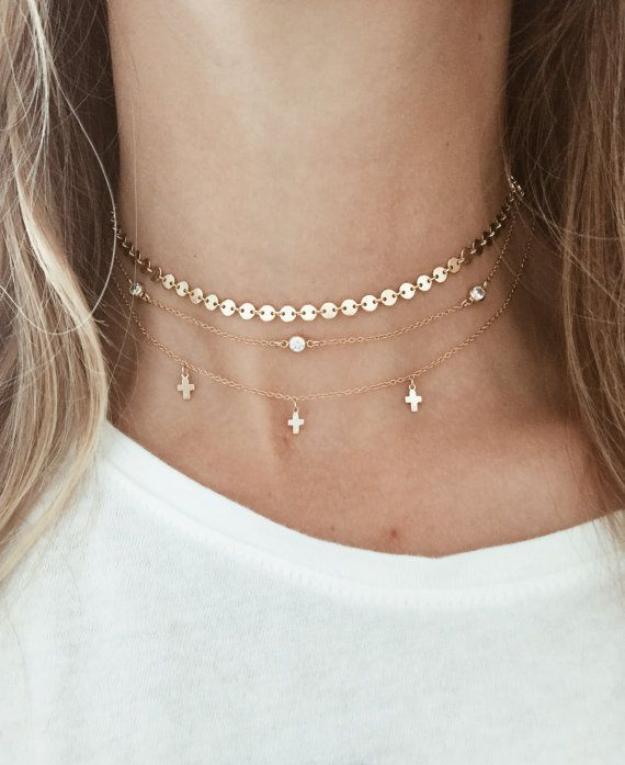 Simple Gold Silver Chain Round Circle Choker Necklace Coin Chocker Necklace