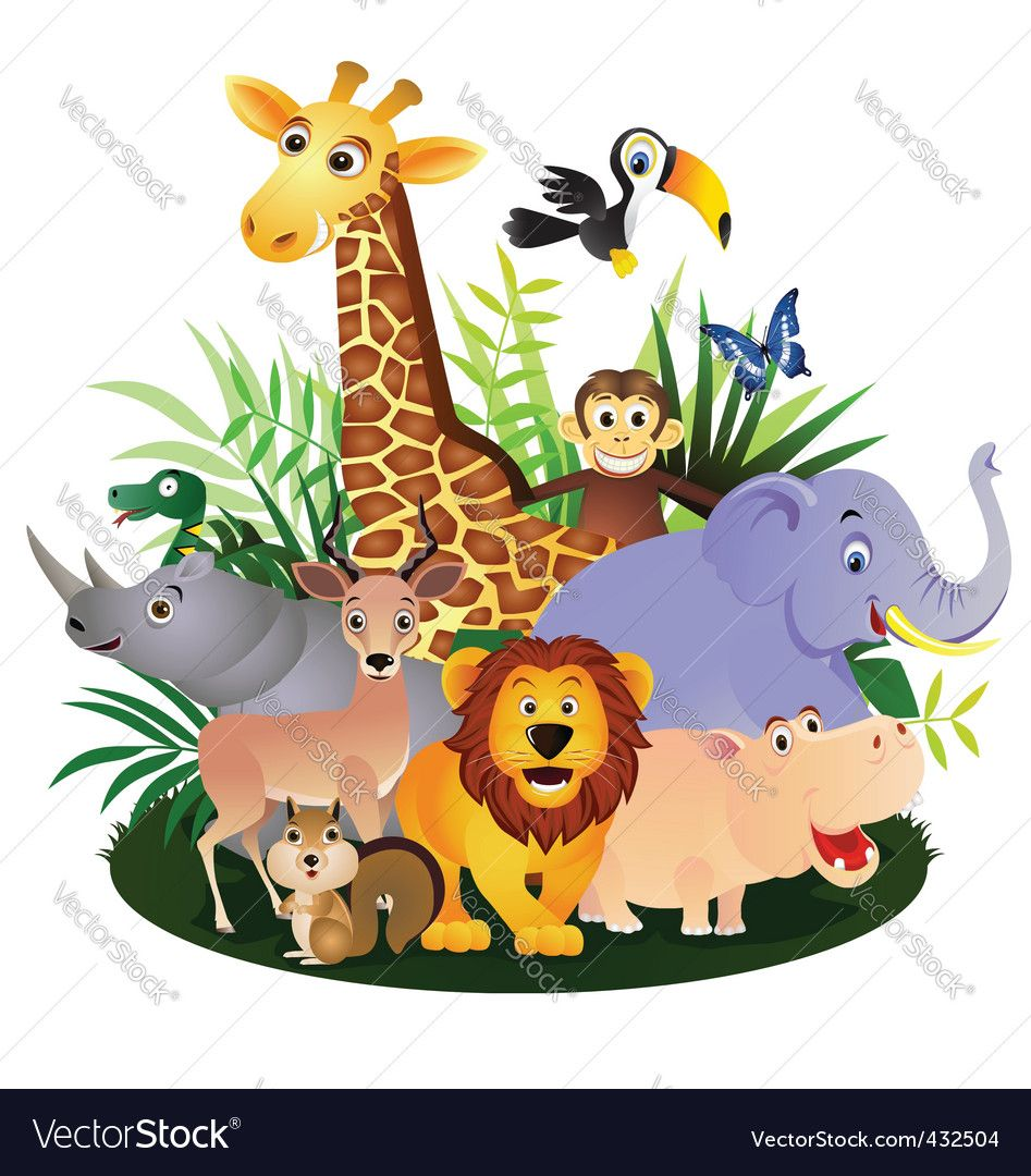 Vector Animal Cartoon Group Download A Free Preview Or High Quality Adobe Illustrator Ai Eps Pdf And Hig Cartoon Animals Cartoon Baby Animals Animal Clipart