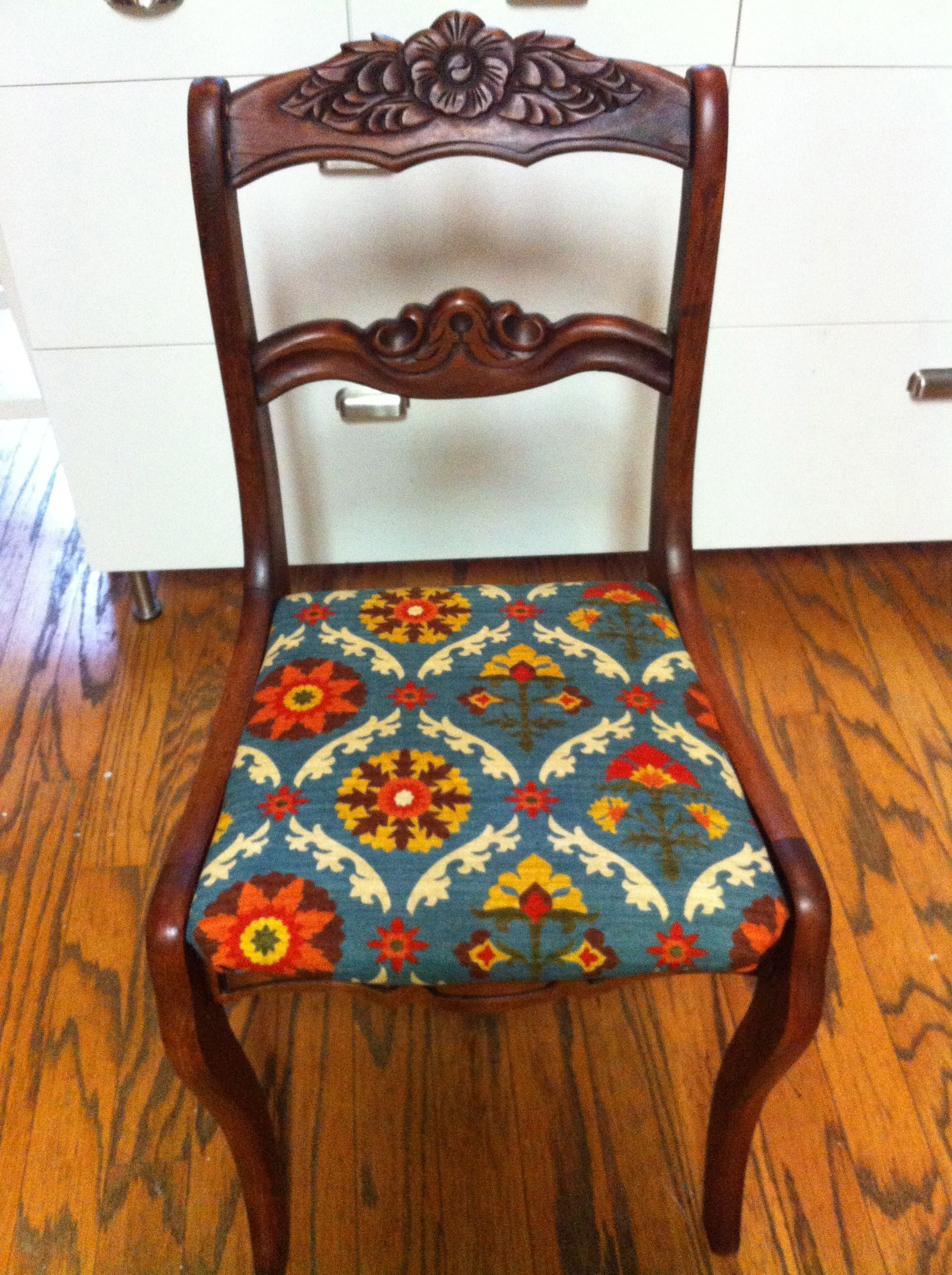 Antique Roseback Chair With Waverly Mayan Medallion Fabric
