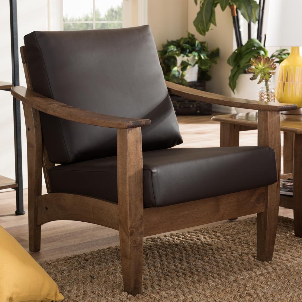Baxton studio pierce dark brown faux leather upholstered