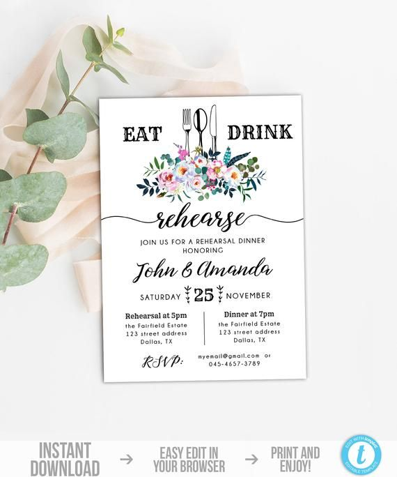 Floral Rehearsal Dinner Invitation Template, Rustic Eat Drink ...