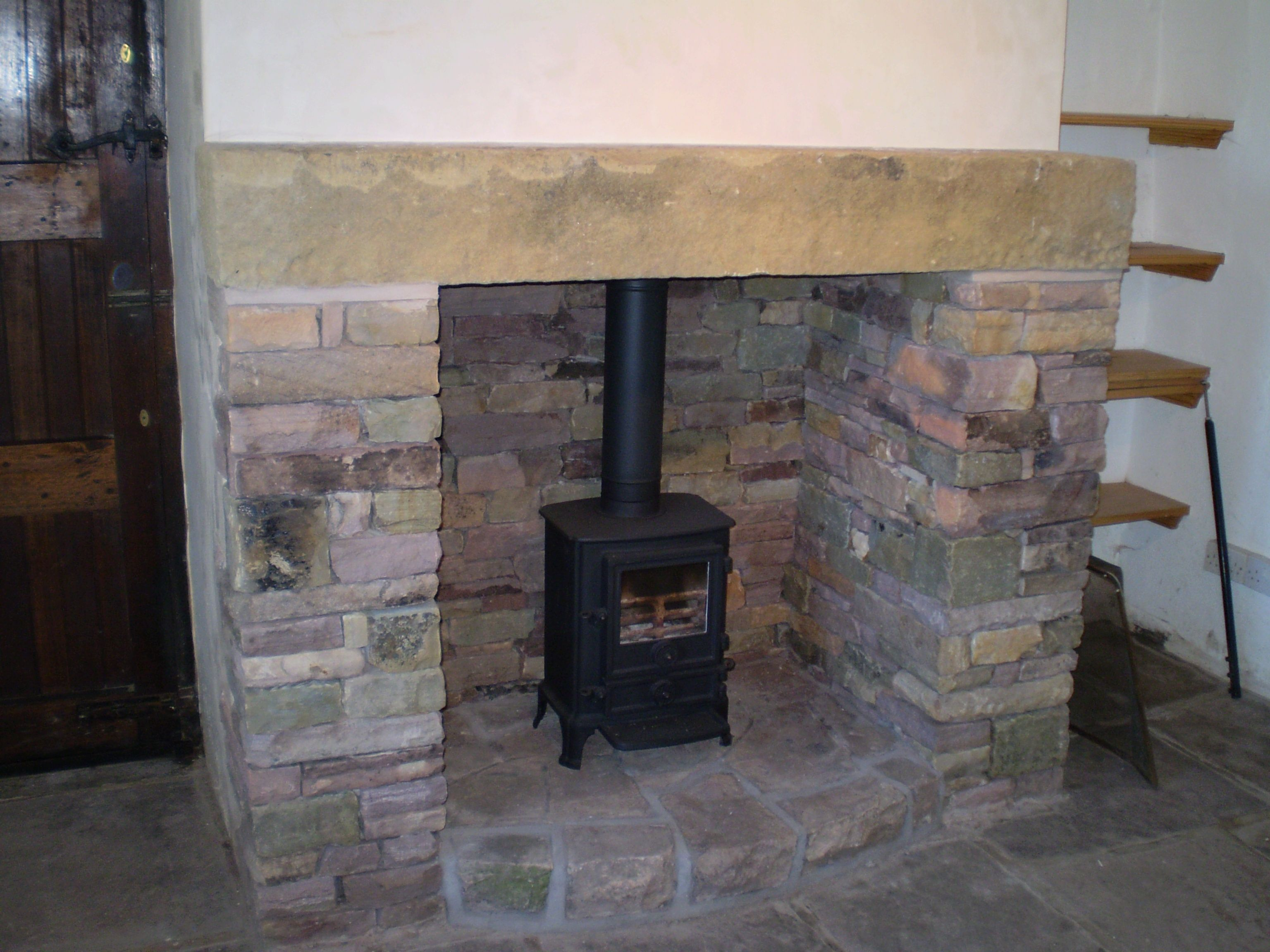 Natural Stone Surround For Wood Burning Stove Cottage