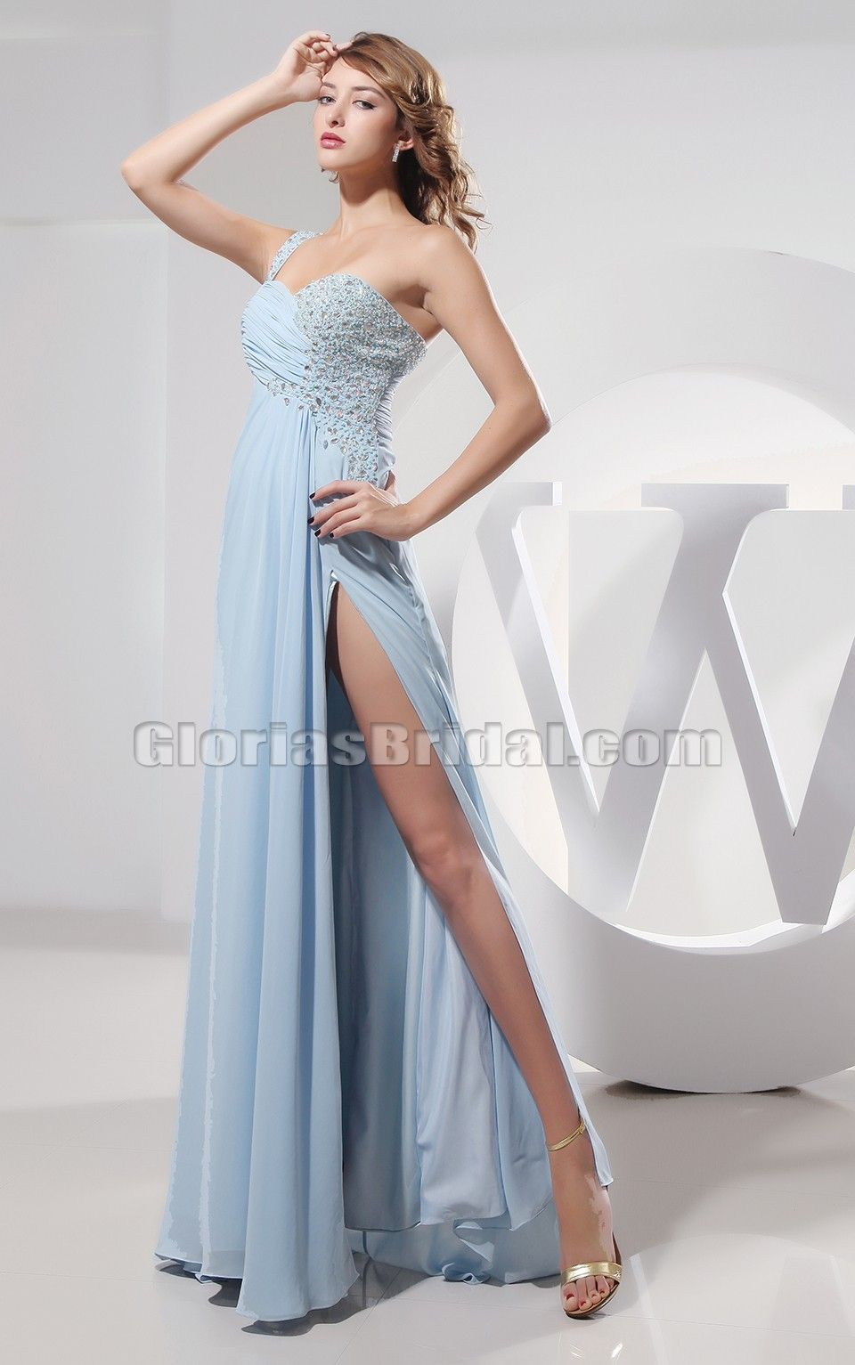 Hot one shoulder light sky blue cut out slit prom gown evening dress
