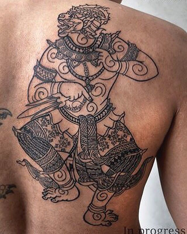 Thai hanuman tattoo pinterest for Laos tattoo designs