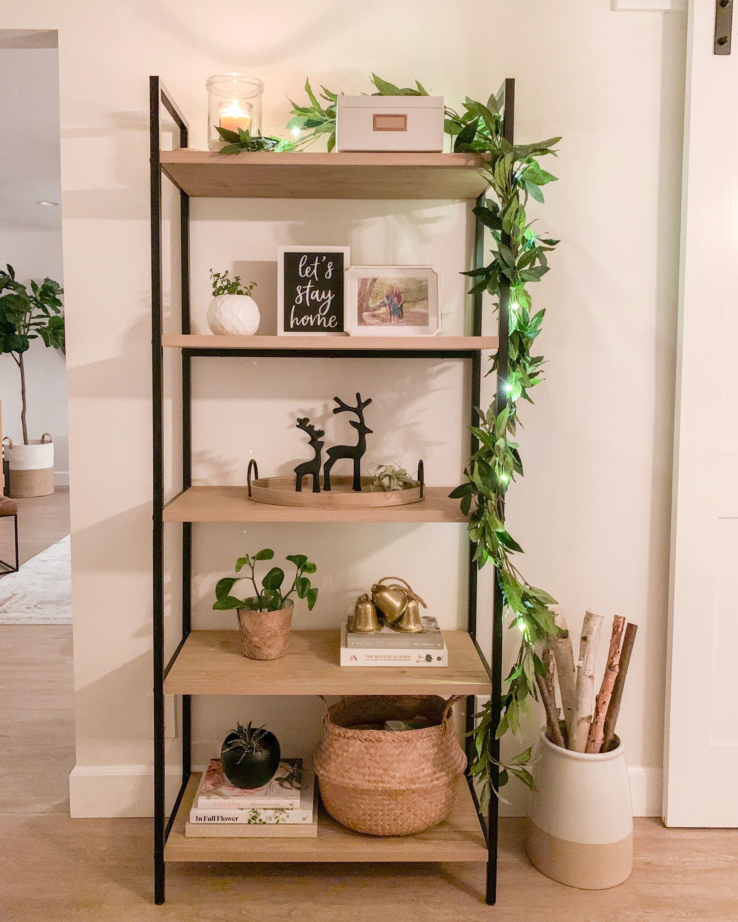 Modern Farmhouse Bookshelf Decorated for Christmas + Holidays