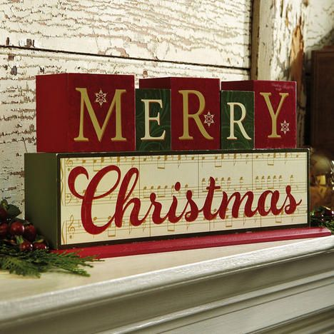 merry christmas wooden blocks more - Merry Christmas Decorative Blocks