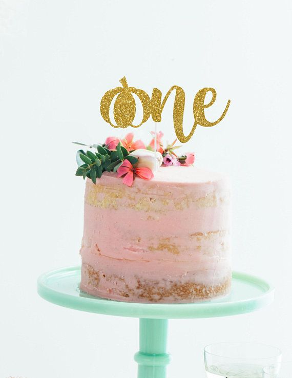 Pumpkin Glitter ONE Cake Topper - 1st Birthday, Birthday ...