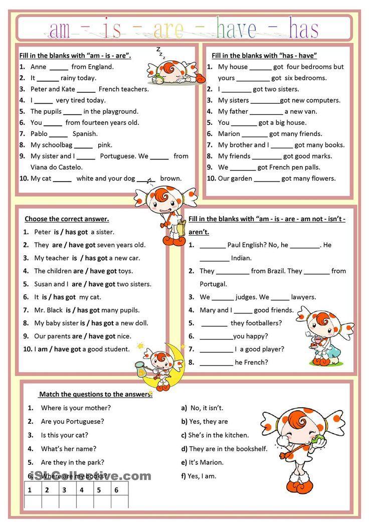 am is are has have worksheet free esl printable worksheets