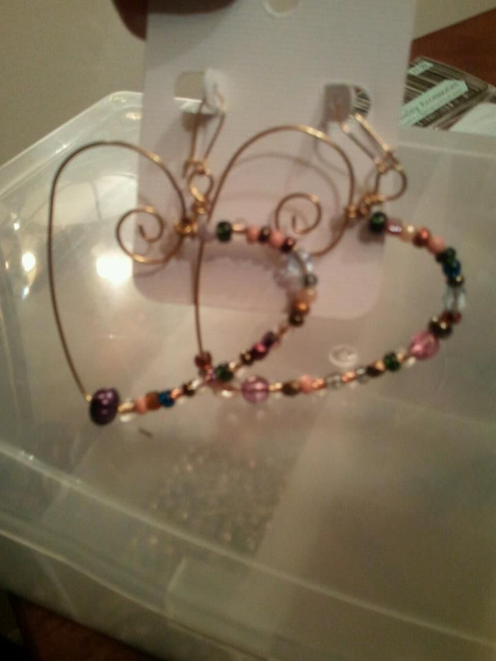 wire and bead heart earrings