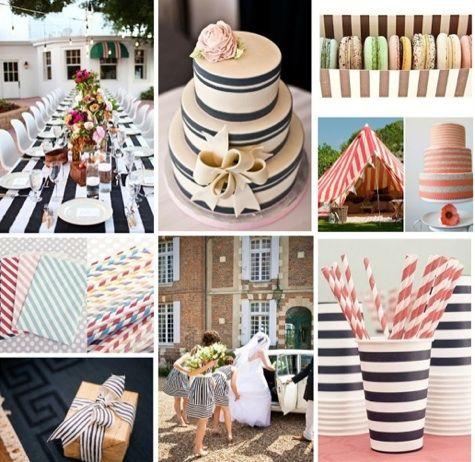 Elegant Striped Wedding Decor: Navy Table Runners, Paper Straws, Grosgrain Ribbon  And More