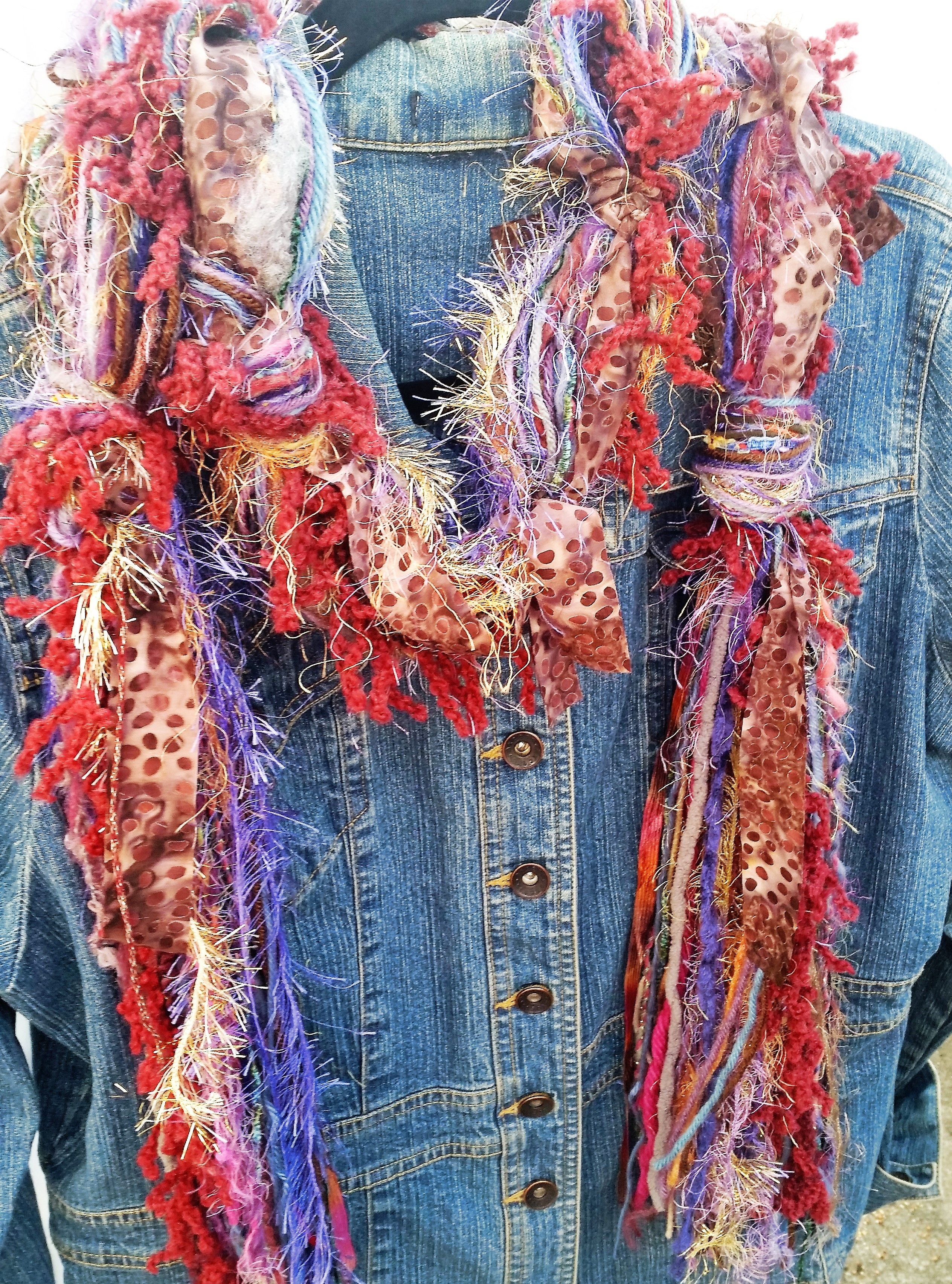 Beautiful, handmade knotted scarves made with yarn, batik
