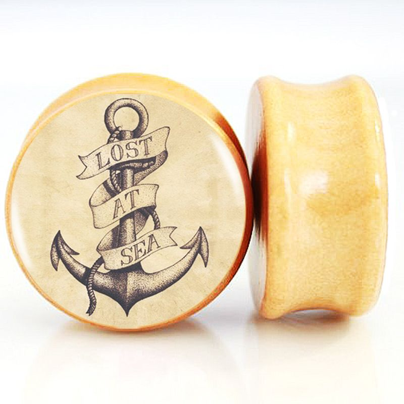 Anchor pattern Organic Handmade Wooden Ear Plugs Ear Gauges Custom
