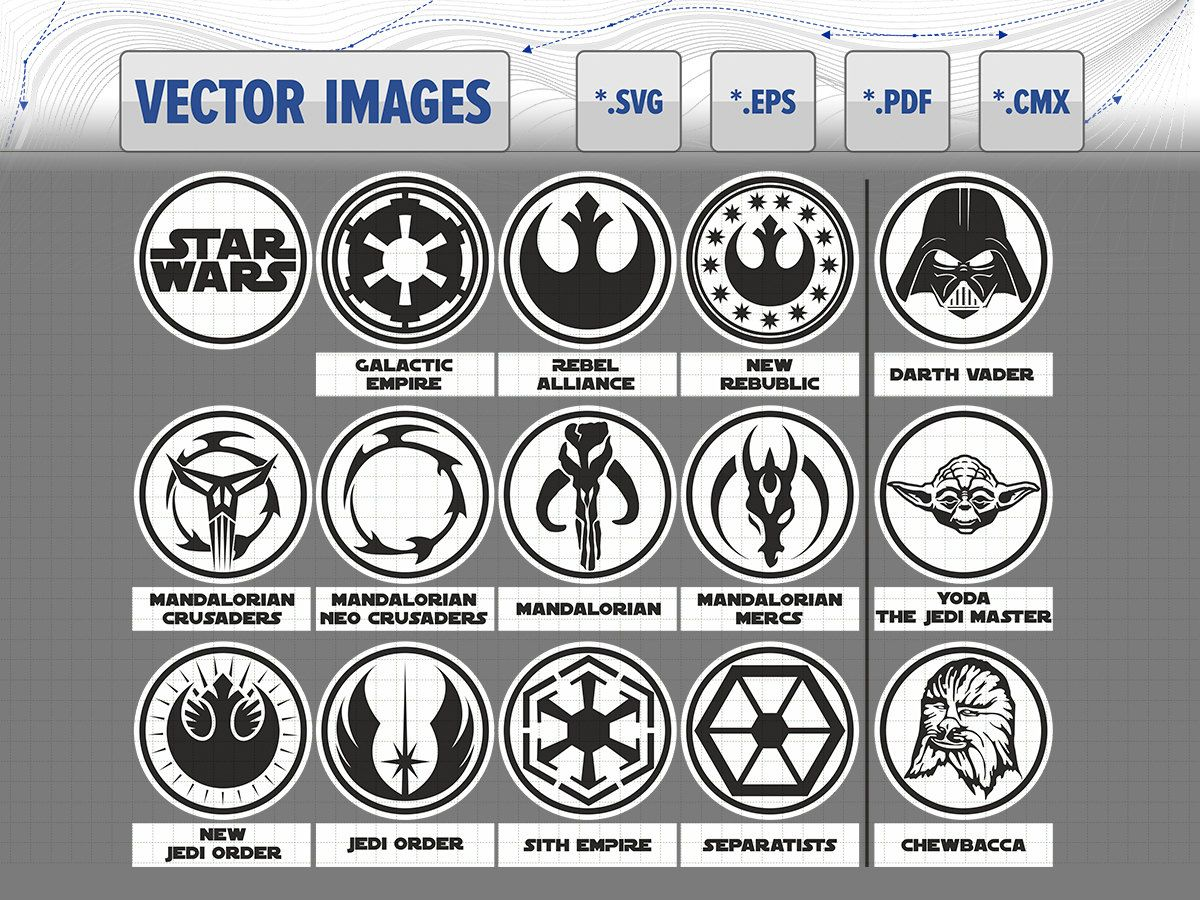 star wars symbols and logo darth vader yoda chewbacca