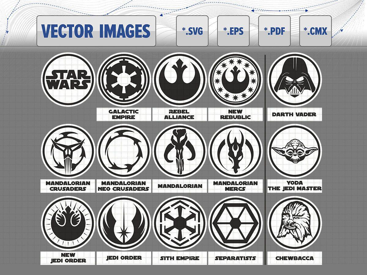 Star Wars symbols and logo, Darth Vader, Yoda, Chewbacca