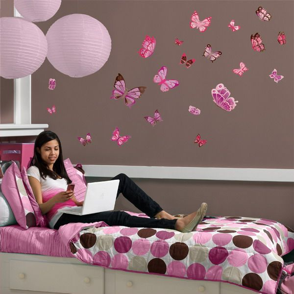Beautiful Girl Room Decoration With Pink Wall Decals Butterfly Sticker Wall Painting Ideas For Girls Bedroom