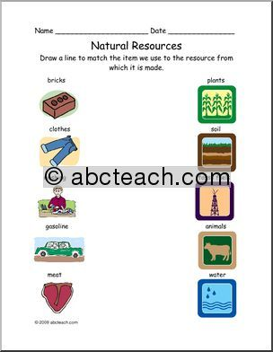 Worksheet Matching Natural Resources Primary Elem Abcteach Writing Forms Worksheets Word Puzzles