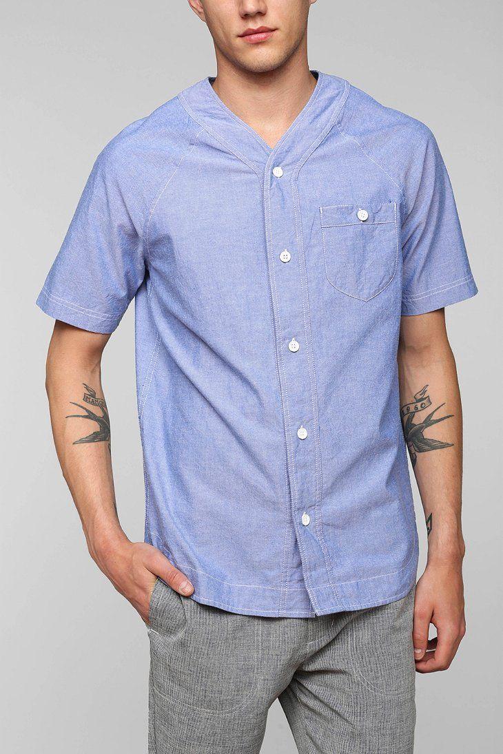 Your Neighbors Chambray Baseball Button-Down Shirt | 2014 Fashion ...