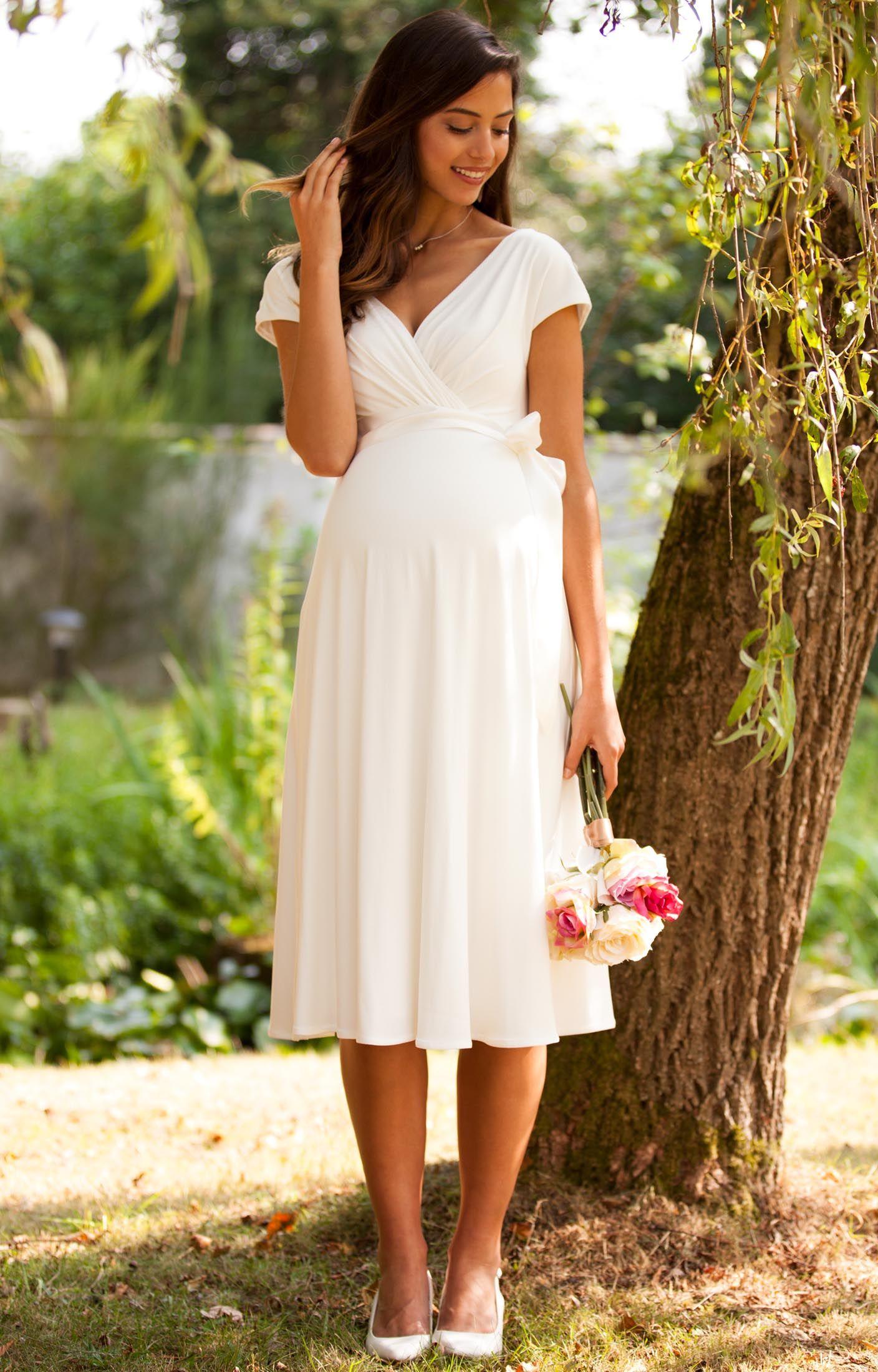 Umstandshochzeitskleid Alessandra kurz in Elfenbein – Umstandshochzeitskleider, Abendgarderobe und Partykleidung von Tiffany Rose   – Hochzeit zu dritt